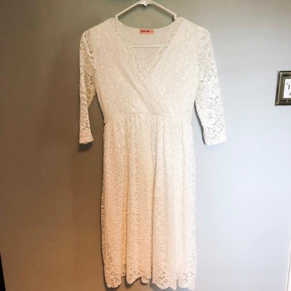White Lace Maternity Dress Nwot
